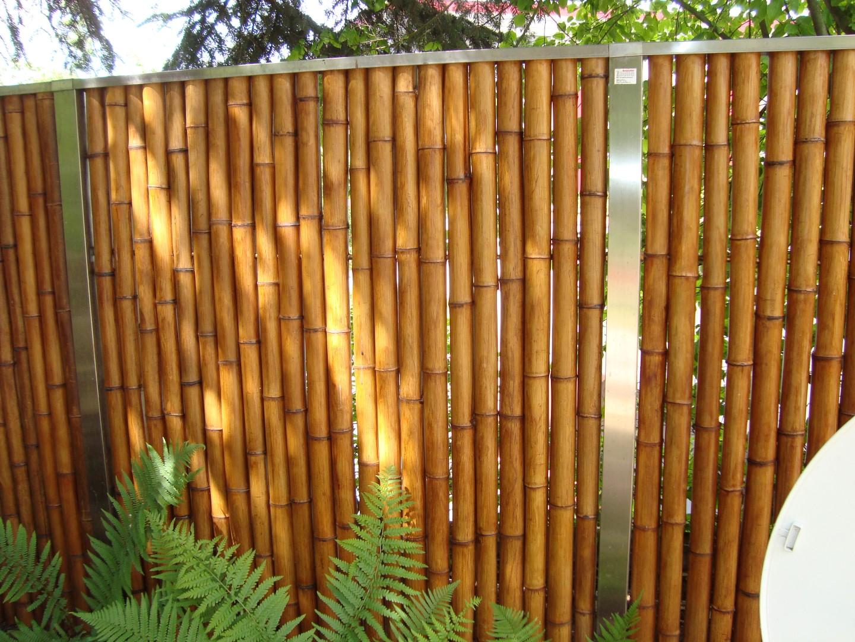 sichtschutz aus bambus mit edelstahlabdeckung